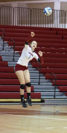 Danielle Towslee '15 serves the ball for Lafayette.