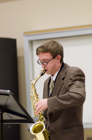 Saxophonist Michael Roninson '15 performs for the first Wednesday Recital