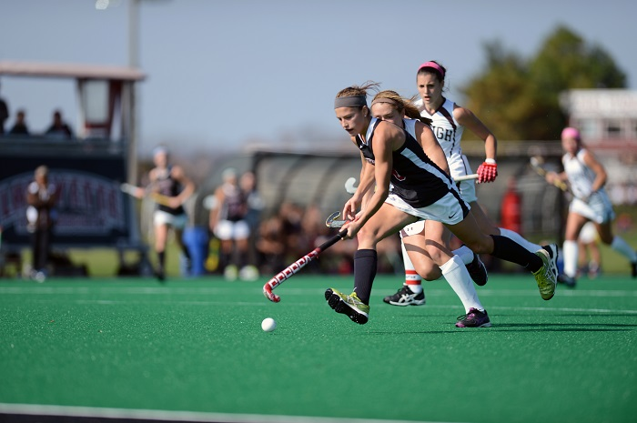Junior Abby Stefanides breaks away from the Lehigh defense en route to the goal. [Photo Courtesy of Lafayette Athletic Communications]