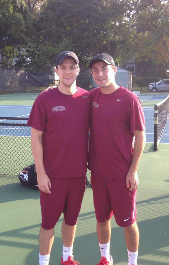 The number one doubles team of sophomore Brian Stefanowicz and senior captain Brandon Goldstein on the sidelines [Photo Courtesy of Lafayette Athletic Communications]