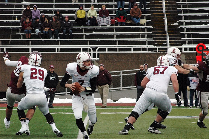 Sophomore quarterback Drew Reed steps back to throw as he eyes a target downfield. [Photo Courtesy of Lafayette Athletic Communications]