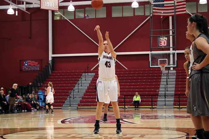 Sophomore Ashley Lutz shoots two at the free throw line against Bloomsburg on Nov. 5.