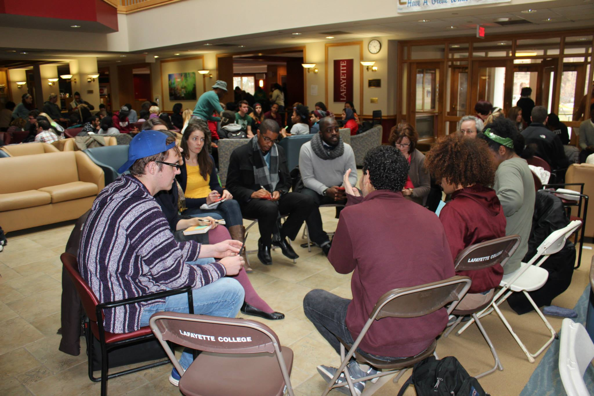 Students, faculty, administrators, staff and residents of Easton discuss spoke about personal experiences and national issues in groups.