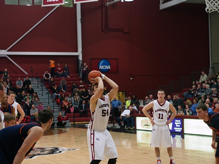 Junior center Nate Musters shoots a free throw shot