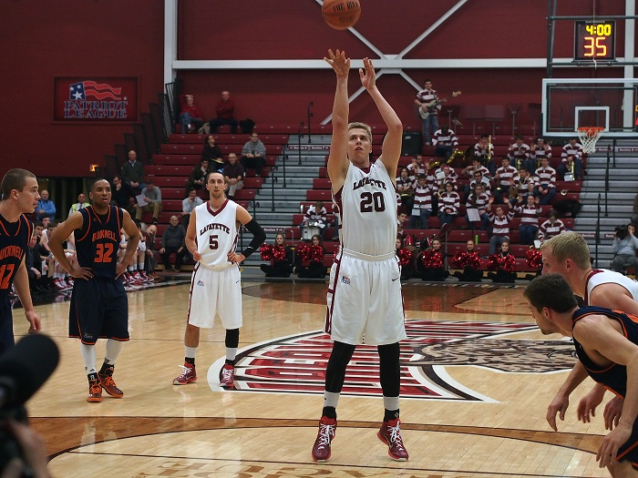 Senior center Dan Trists goes to the line for a foul shot.