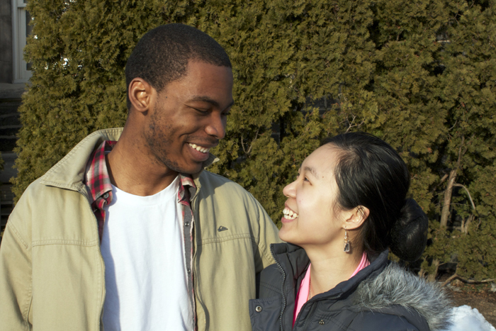 Yehou Gnopo '15 and Jolly Shi '16 met during RA training nearly a year and a half ago. [Photo by Elizabeth Lucy '15]