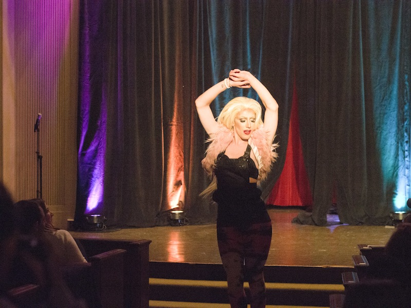 Natasha Sixxx performs at the drag show in Colton Chapel.