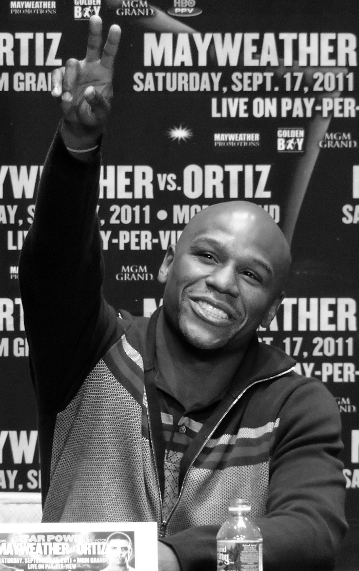 [Photo Courtesy of en.wikipedia.org] Floyd Mayweather at a press conference before fighting Victor Ortiz.