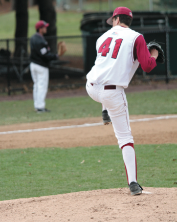 Senior right-handed pitcher Cory Spera warms up on the mound for Lafayette. [Photo by Hana Isihara '17]