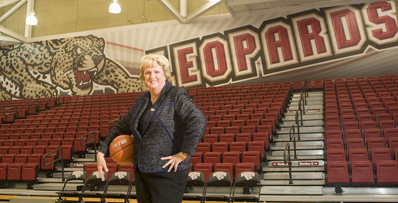 Former Olympic head coach Theresa Grentz was added to the women's basketball coaching staff in the fall, and was promoted to head coach in April following head coach Diane Nolan's retirement. [Photo Courtesy of Athletic Communications]