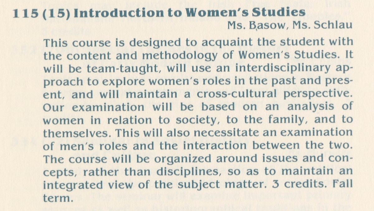A course description for the first Women's Studies class. [Photo courtesy of Lafayette Archives]