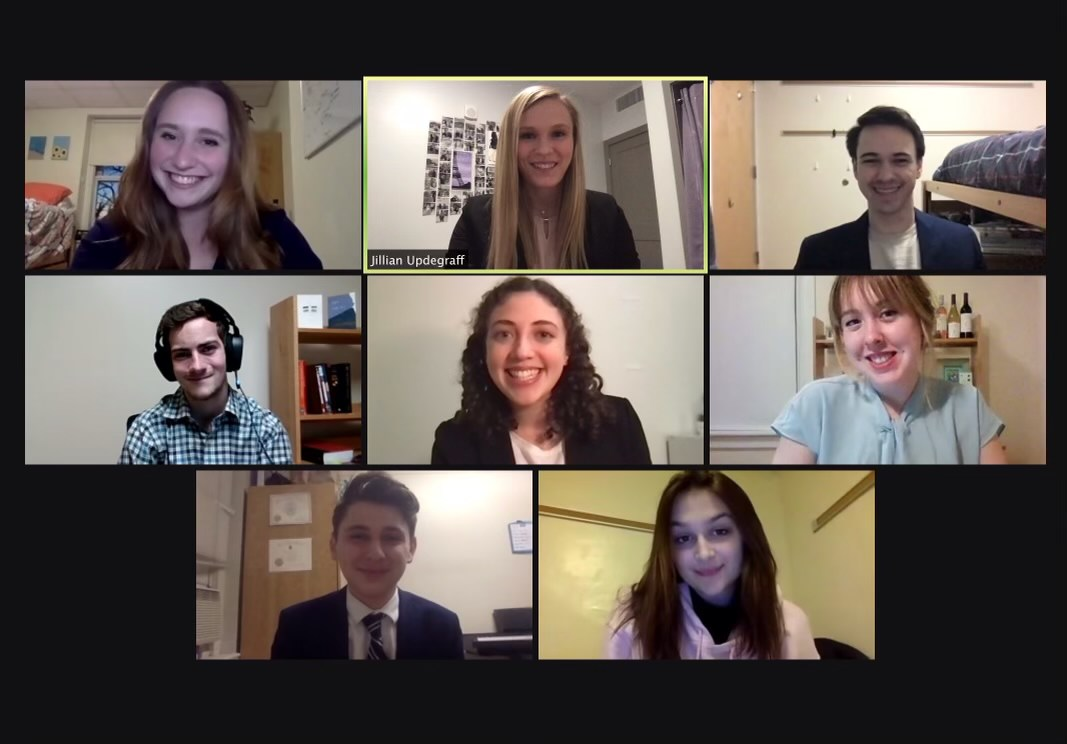 The eight members of the mock trial team smiling in a Zoom call.
