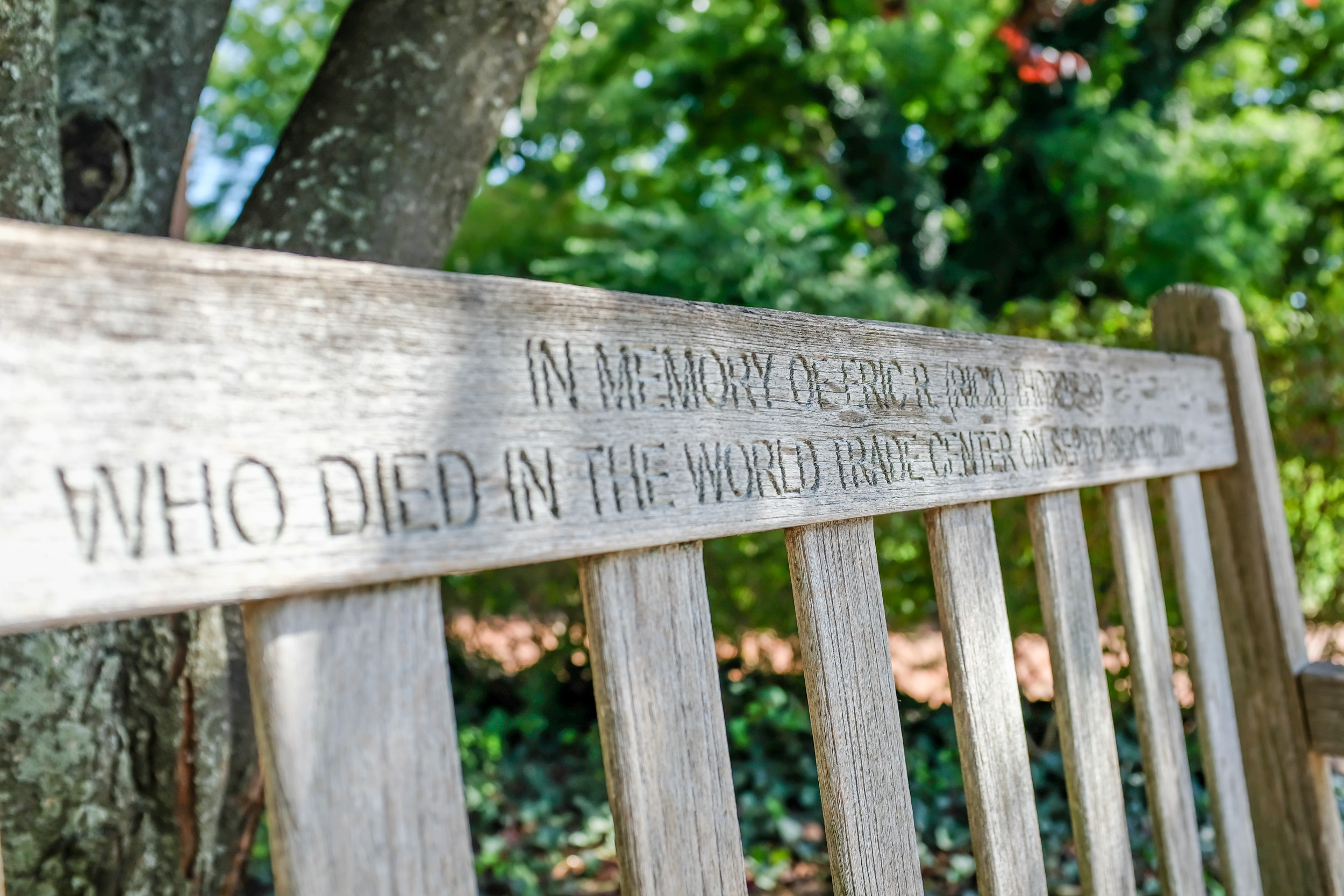 """A bench inscribed with, """"In memory of Eric R. (Rick) Thorpe '89 who died in the World Trade Center on September 11, 2001."""""""